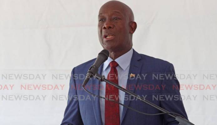 Prime Minister of Trinidad and Tobago Dr. Keith Rowley delivers feature address at the opening of The Home of Football in Couva. Photo by - Marvin Hamilton